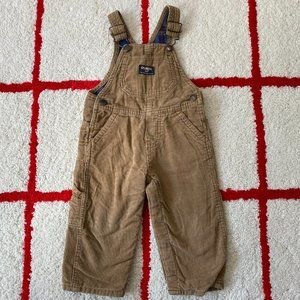 Toddler Oshkosh B'gosh Brown Corduroy Overalls 12M